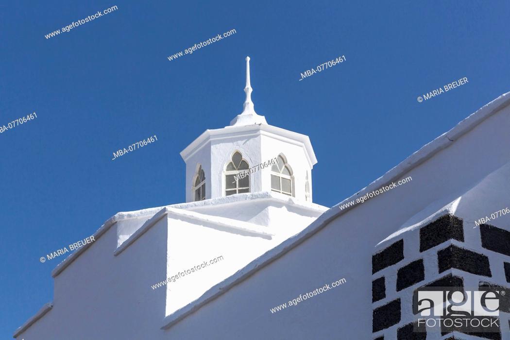 Stock Photo: Church Nuestra Senora de los Dolores, Mancha Blanca, Tinajo, Lanzarote, Canary Islands, Spain, Europe.