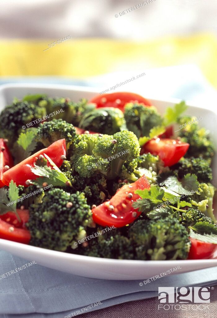Stock Photo: tomato, broccoli and two coriander salad.