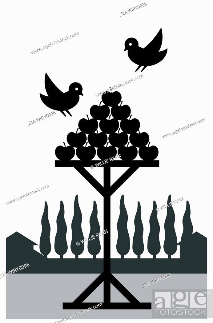 Imagen: Birds and apples.