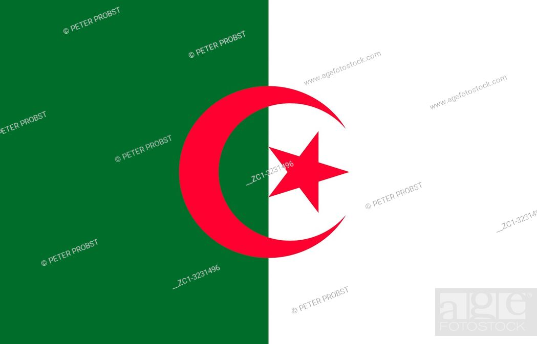 Stock Photo: National flag of the People's Democratic Republic of Algeria.