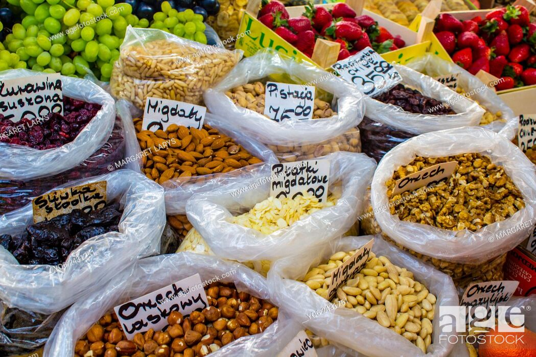 Stock Photo: Collection of various, organic nuts in Food market in Cracow, Poland.