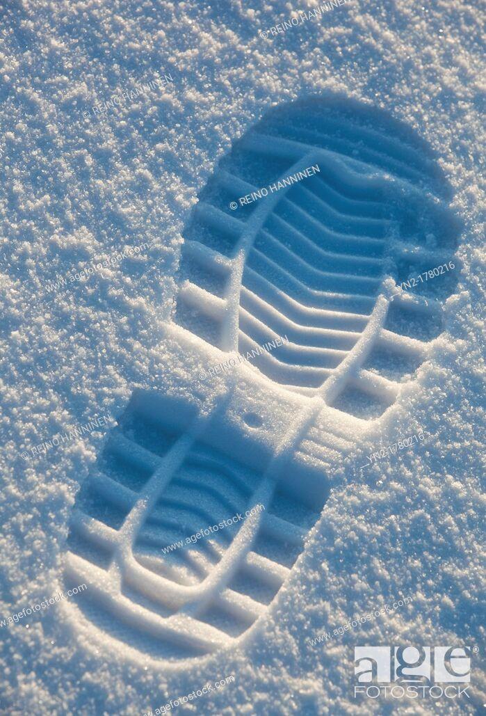 Stock Photo: Shoe print on snow  Location Oulu Finland Scandinavia Europe.
