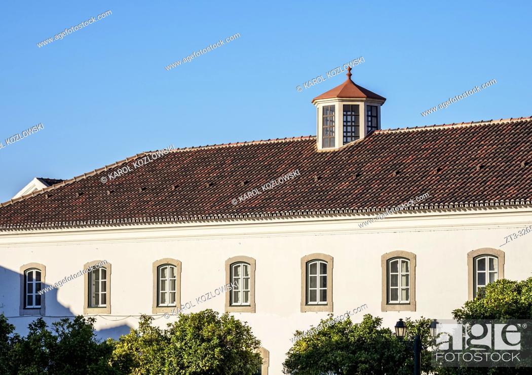 Stock Photo: Buildings at Largo da Se, Faro, Algarve, Portugal.