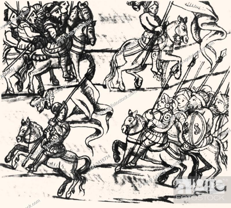 Stock Photo: Cabalry deployment of Spanish troops in the Florentine Codex, 16th-century study by Spanish Franciscan Bernardino de Sahagun.