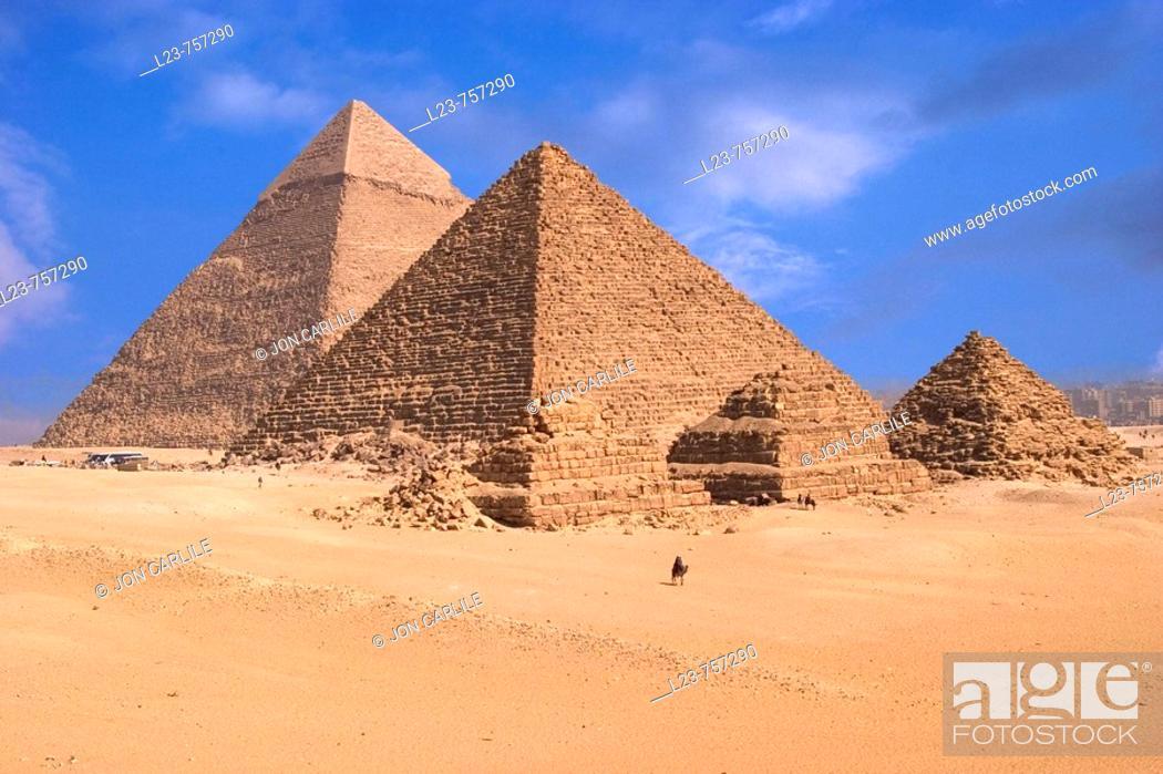 Stock Photo: Pyramids of Giza, Egypt.