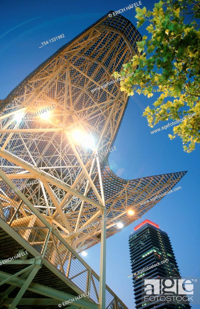 Stock Photo: Frank Gehry fish sculpture bronze Olympic Port in Barcelona, Catalunya.