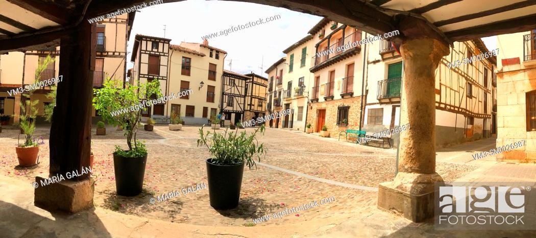 Stock Photo: Obispo Peña Square, panoramic view. Covarrubias, Burgos province, Castilla Leon, Spain.