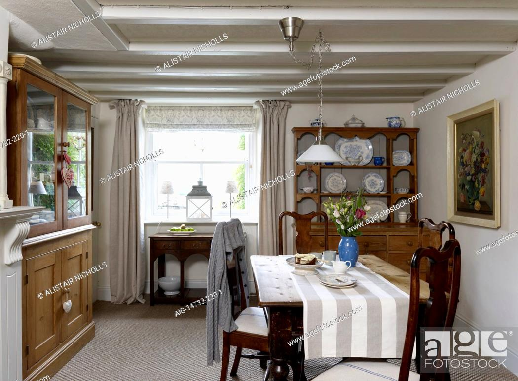 Dining Room With Wooden Table Chairs And Welsh Dresser Residential