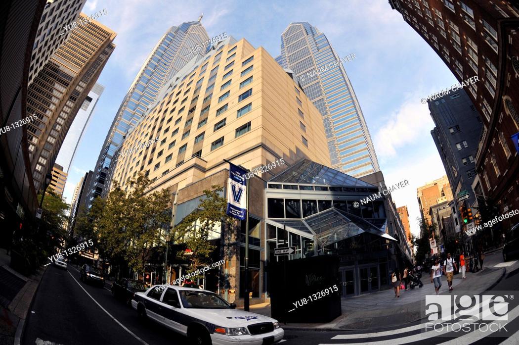 Stock Photo: Intersection in downtown, Philadelphia, Pennsylvania, PA, USA.