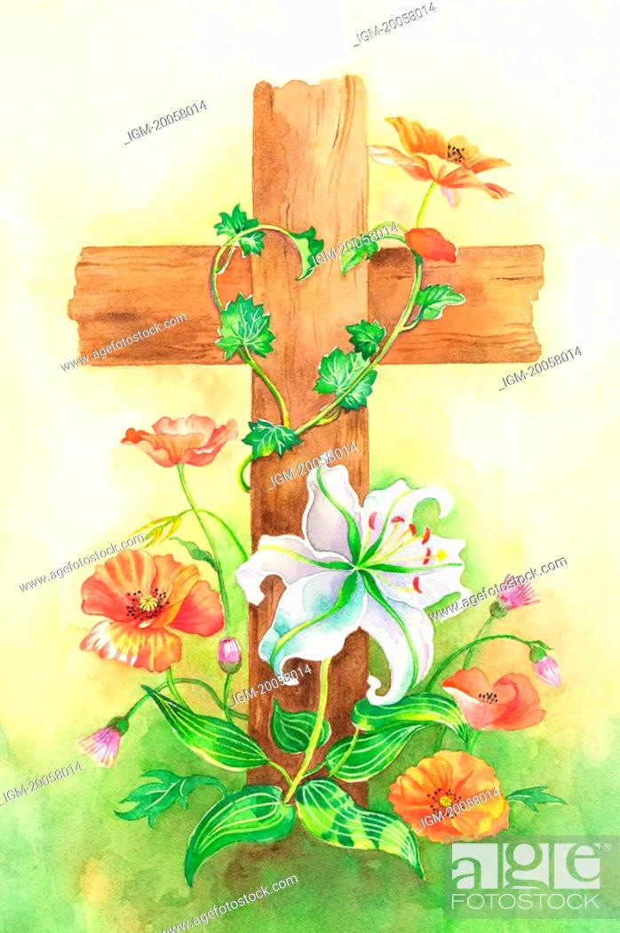 Stock Photo: Flower, Watercolor painting of wooden crucifix with flowers.