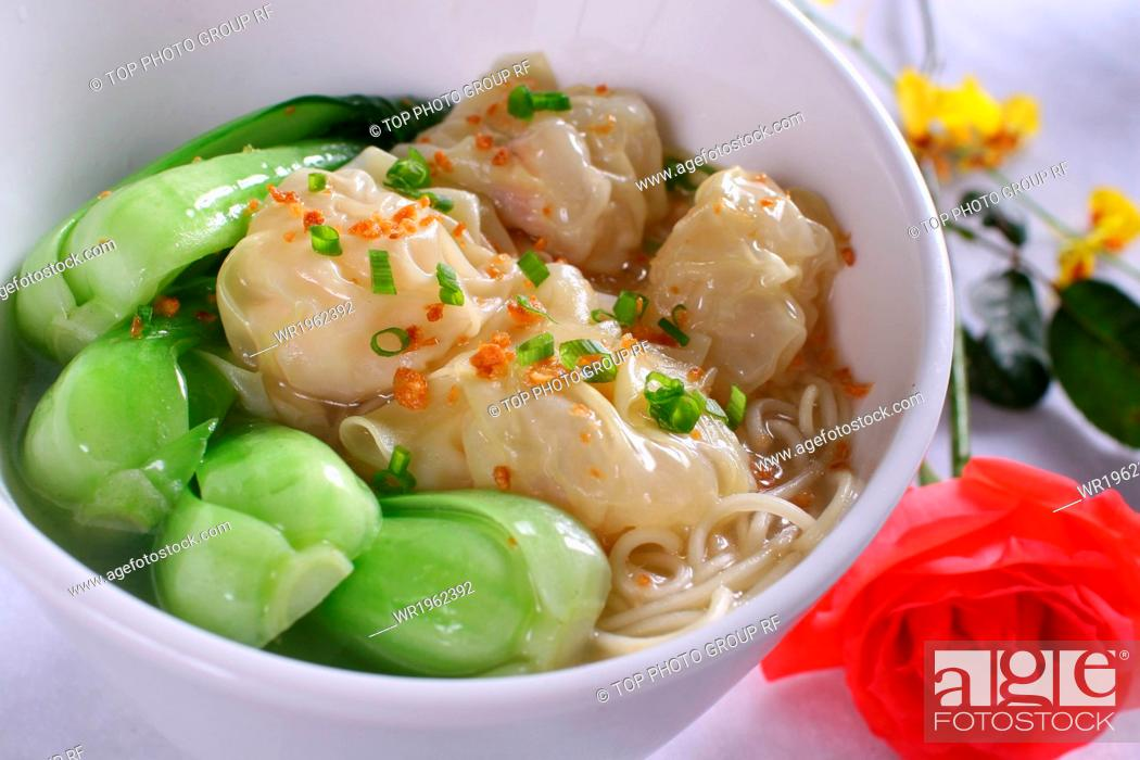 Stock Photo: wonton and noodle soup.