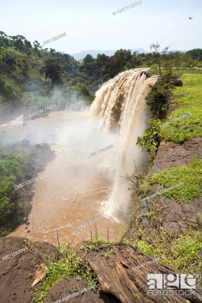 Stock Photo: The waterfalls of the Blue Nile called Tis Isat in Ethiopia towards the end of the rainy season  Around rainy season Tis Isat translated water that smokes are.