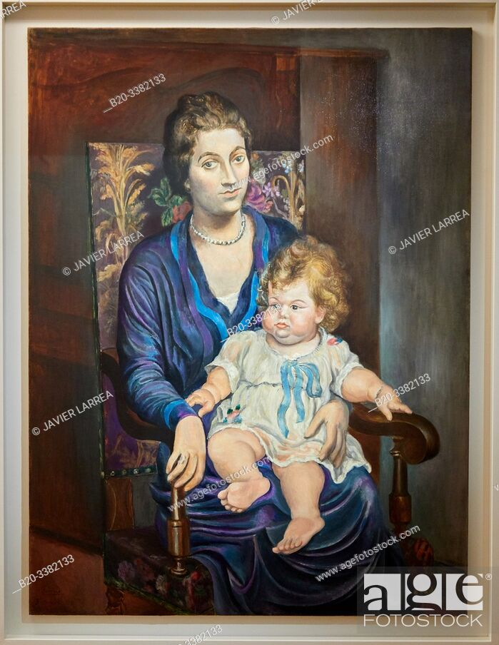 "Stock Photo: ""Portrait de Madame Rosenberg et sa fille"", 1918, Pablo Picasso, Picasso Museum, Paris, France, Europe."