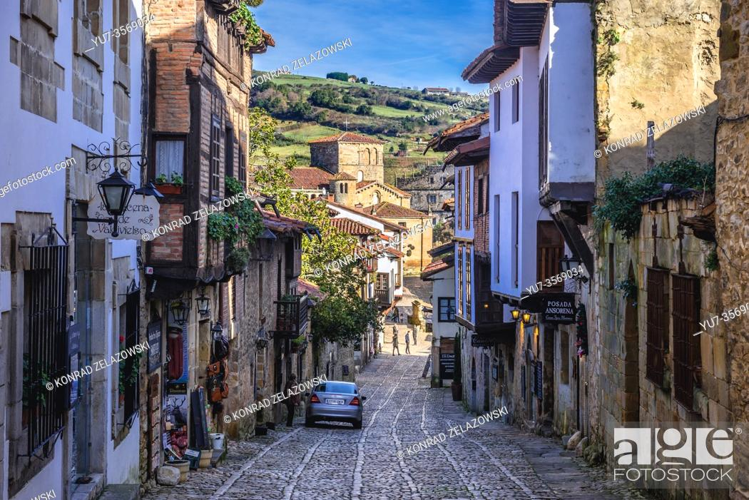 Stock Photo: Old Town of Santillana del Mar historic town in Cantabria autonomous community in northern Spain, view with Santa Juliana Church on background.