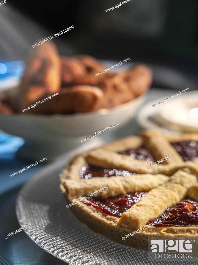Stock Photo: Traditional Icelandic cakes, rhubard pie and kleinur, Iceland.
