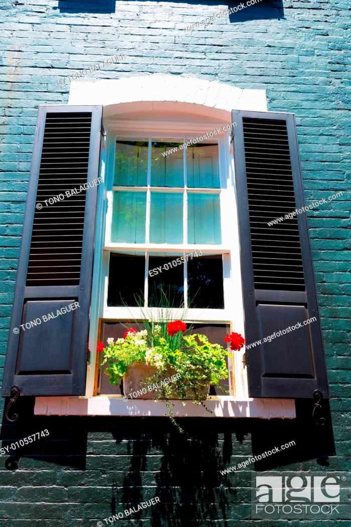 Stock Photo: Georgetown townhouses facades window detail Washington DC in USA.