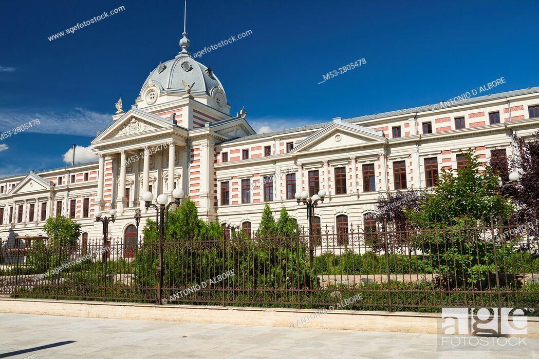 Stock Photo: The facade of Coltea Hospital (Spitalul Coltea), built in 1704, it's the oldest hospital built in Bucharest. Bulevardul Bulevardul Ion C. Bratianu.