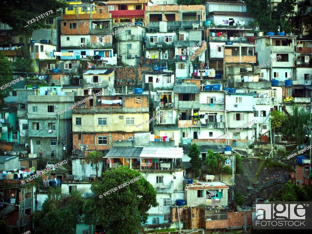 Stock Photo: Favelas on mountain slope in Rio de Janeiro.