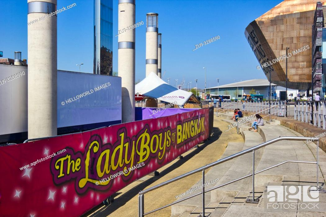 Stock Photo: Banner for the Lady Boys of Bangkok shows at Wales Millennium Centre, Cardiff Bay, Cardiff, Wales, United Kingdom.