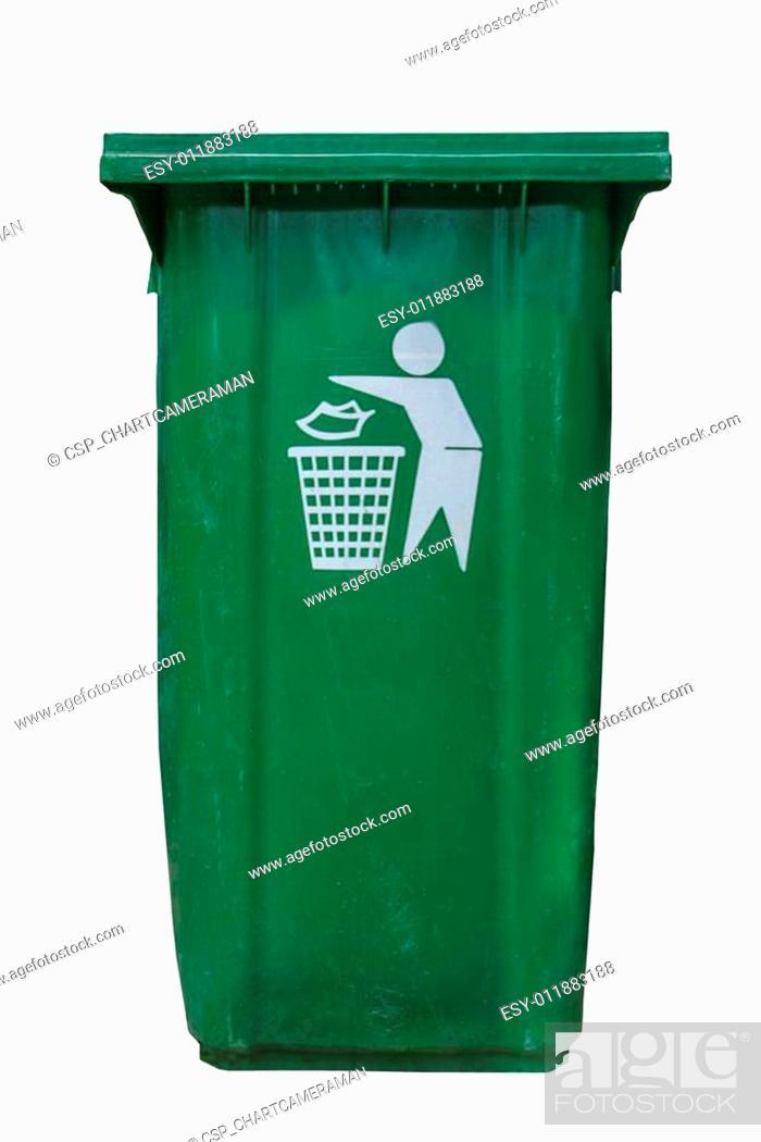 Stock Photo: isolate green plastic bin on white background.