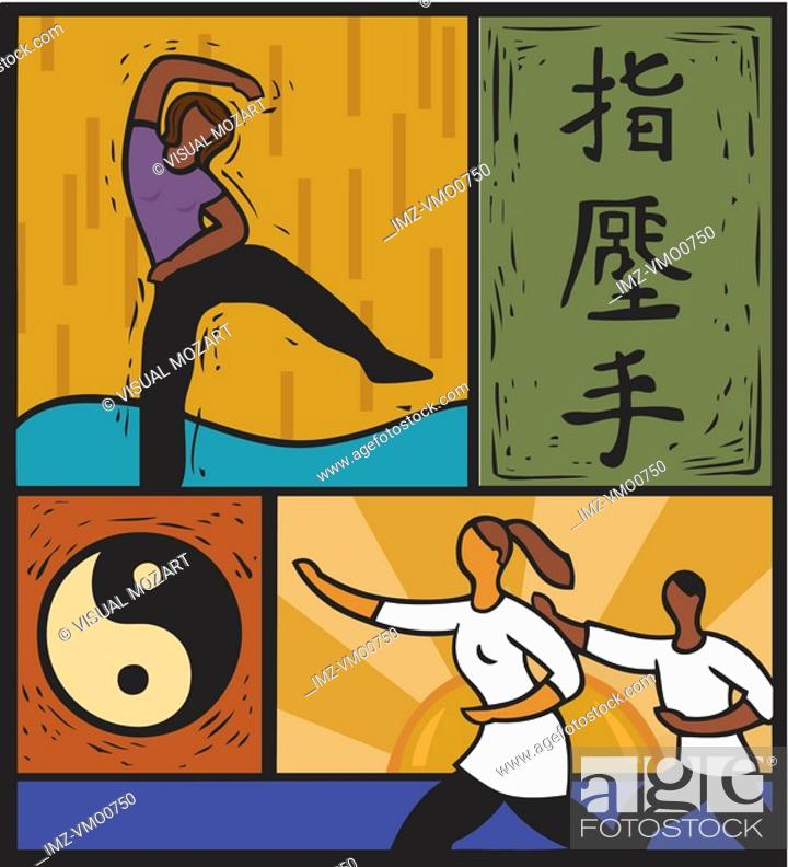 Stock Photo: Illustration of people doing tai chi and martial arts.