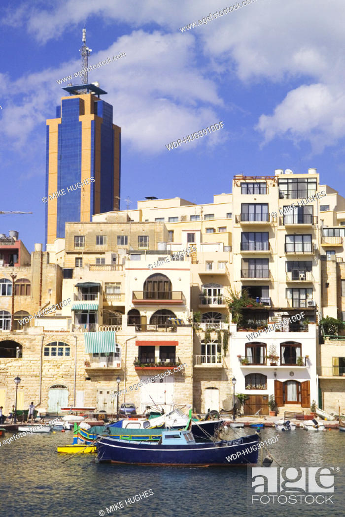 Paceville, Spinola Bay, St  Julian's, Malta, Stock Photo, Picture