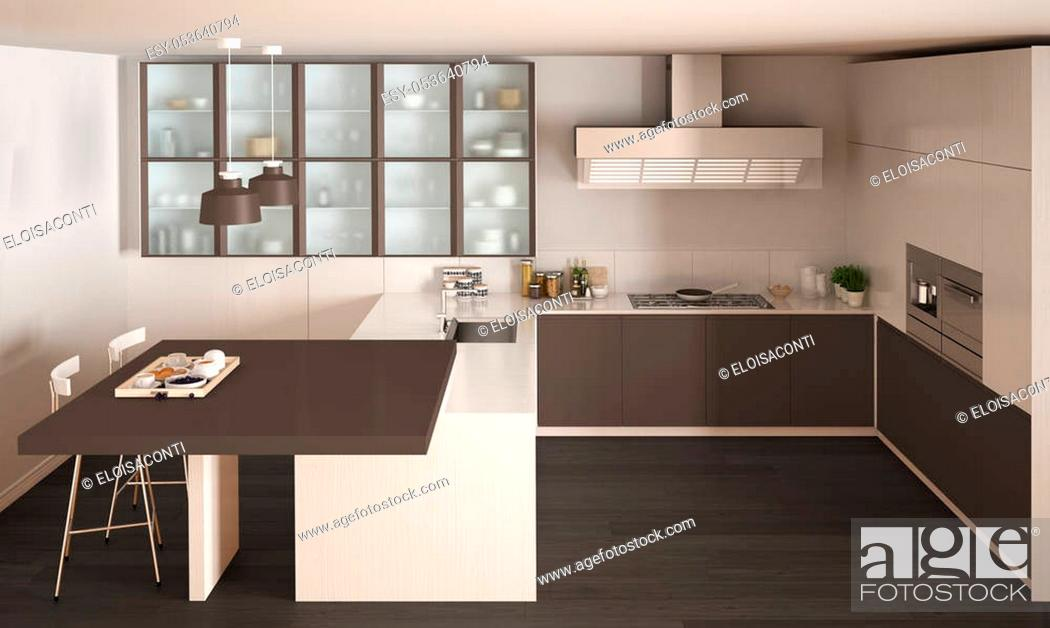 Stock Photo: Classic minimal white and brown kitchen with parquet floor, modern interior design.