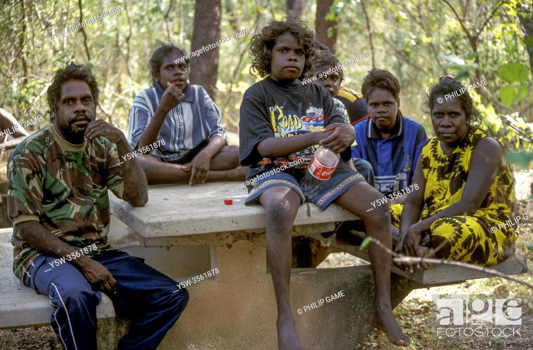 Stock Photo: Gagadju aboriginal family, East Alligator River, Northern Territory, Australia.