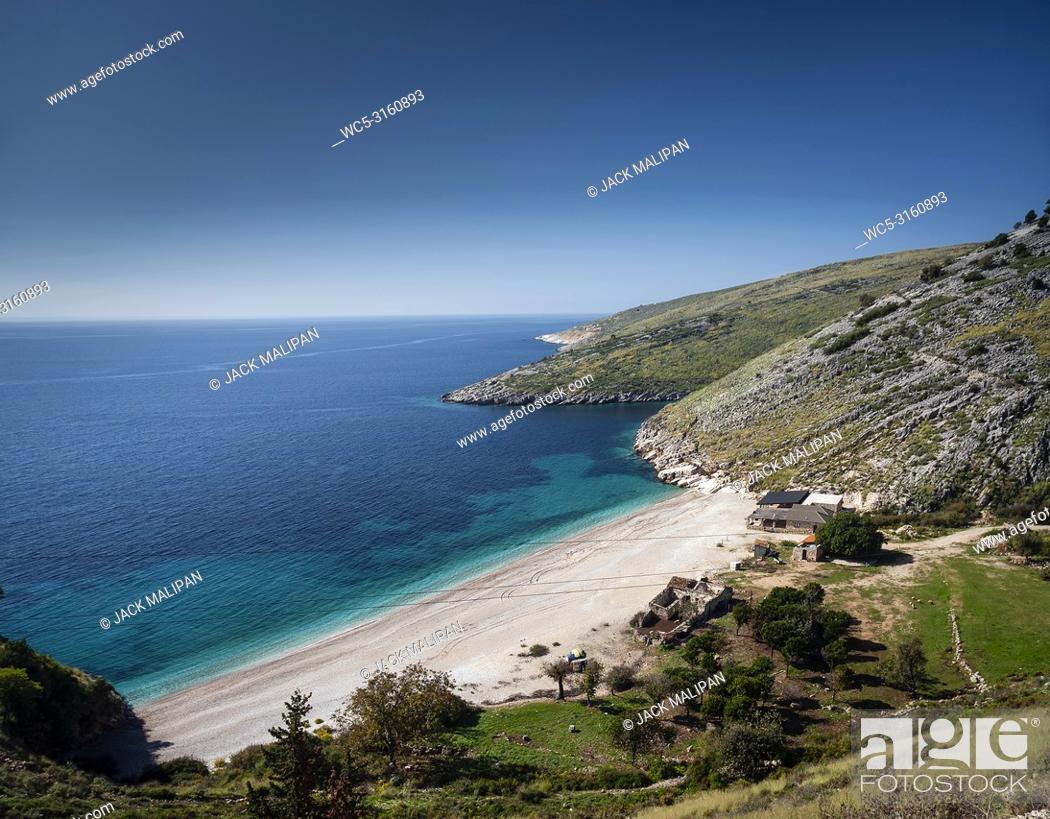 Stock Photo: ionian mediterranean sea coast beach landscape of Southern Albania north of Sarande on road to Vlore.