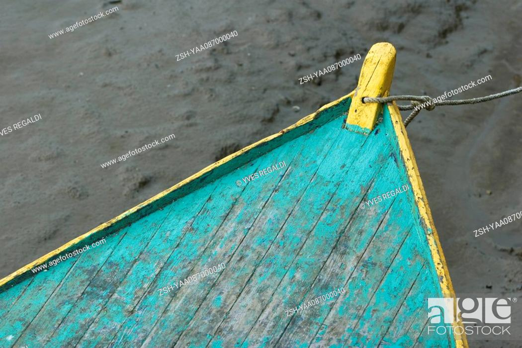 Stock Photo: Prow of rowboat, close-up.