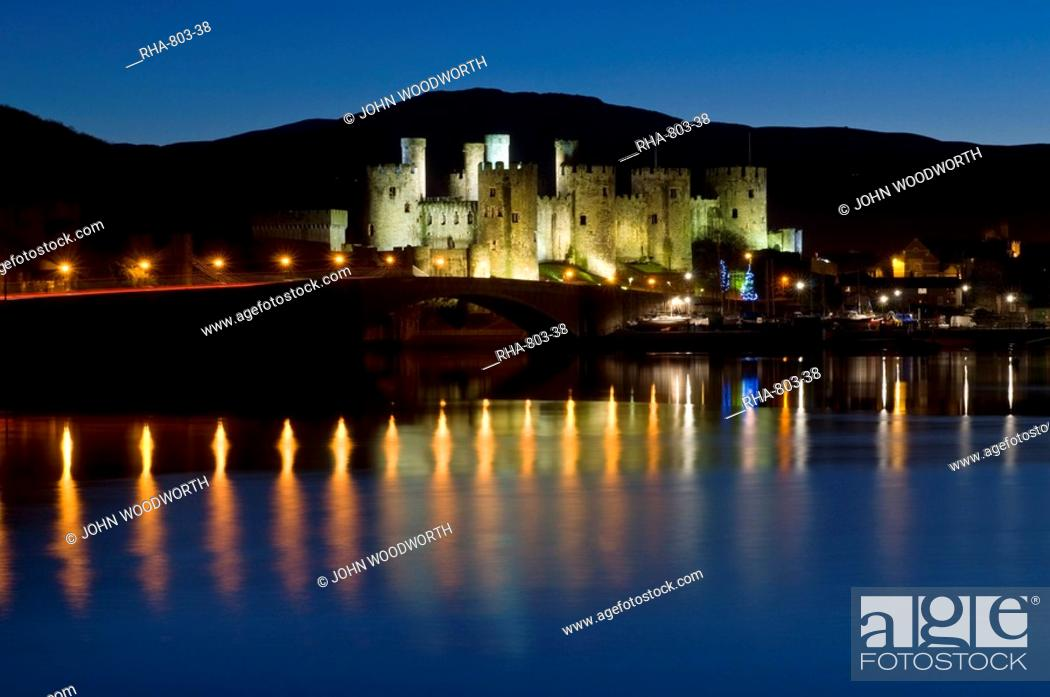 Stock Photo: Conwy Castle and town at dusk, Conwy, Wales, United Kingdom, Europe.