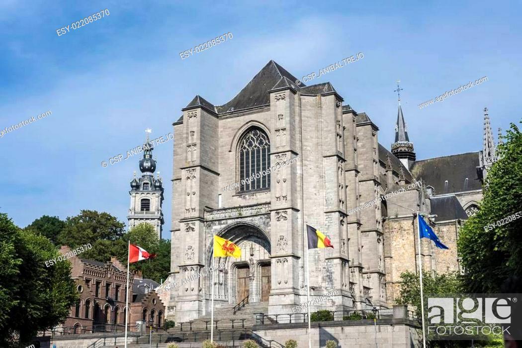 Stock Photo: Sainte-Waudru Collegiate Church in Mons, Belgium.