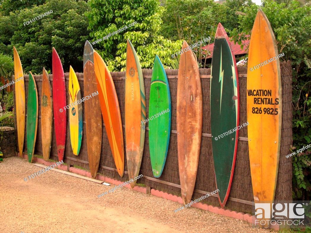 Hanalei Princeville Kauai Hi Hawaii North Shore Old Surfboards