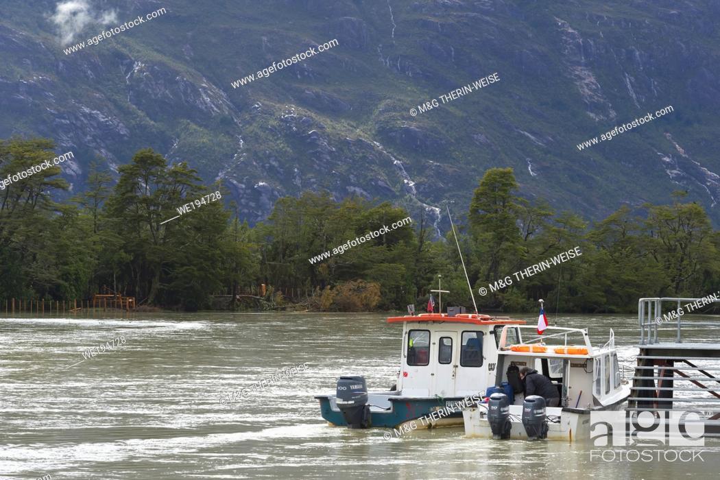 Stock Photo: Anchored Boat, Caleta Tortel, Aysen Region, Patagonia, Chile.