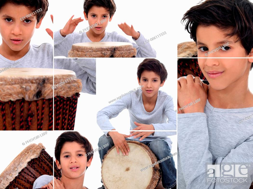 Stock Photo: Montage of young boy with African drum.