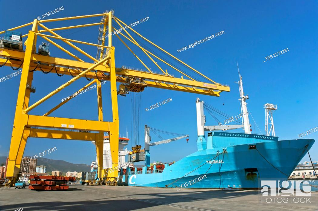 Stock Photo: Commercial port, Algeciras, Cadiz province, Region of Andalusia, Spain, Europe.