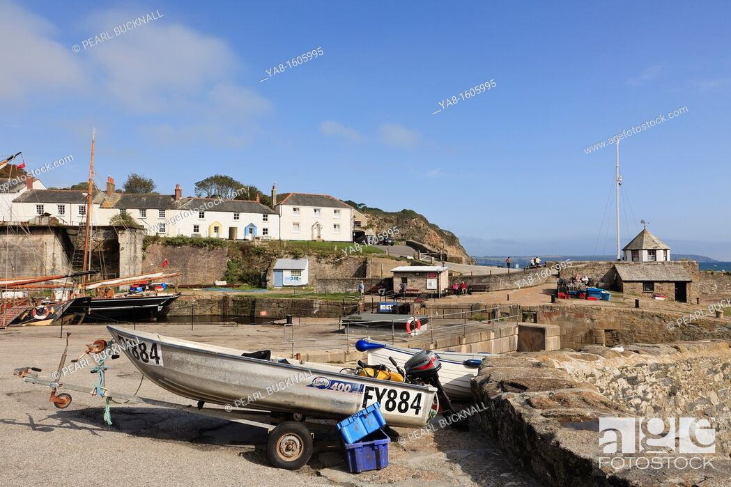 Stock Photo: Charlestown, Cornwall, England, UK, Great Britain, Europe  Coastal village scene near the fishing harbour.