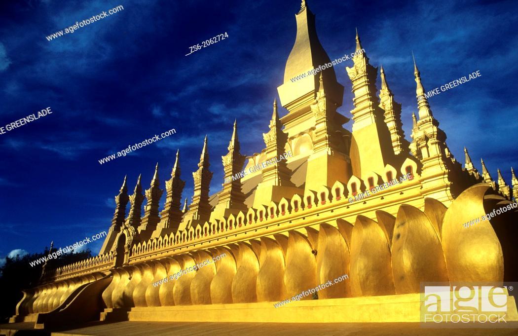 Stock Photo: The Golden Stupa, Wat That Luang, Vientiane, Laos.