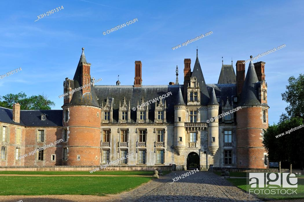 Stock Photo: West facade of the Chateau de Maintenon, Eure-et-Loir department, Centre-Val de Loire region, France, Europe.