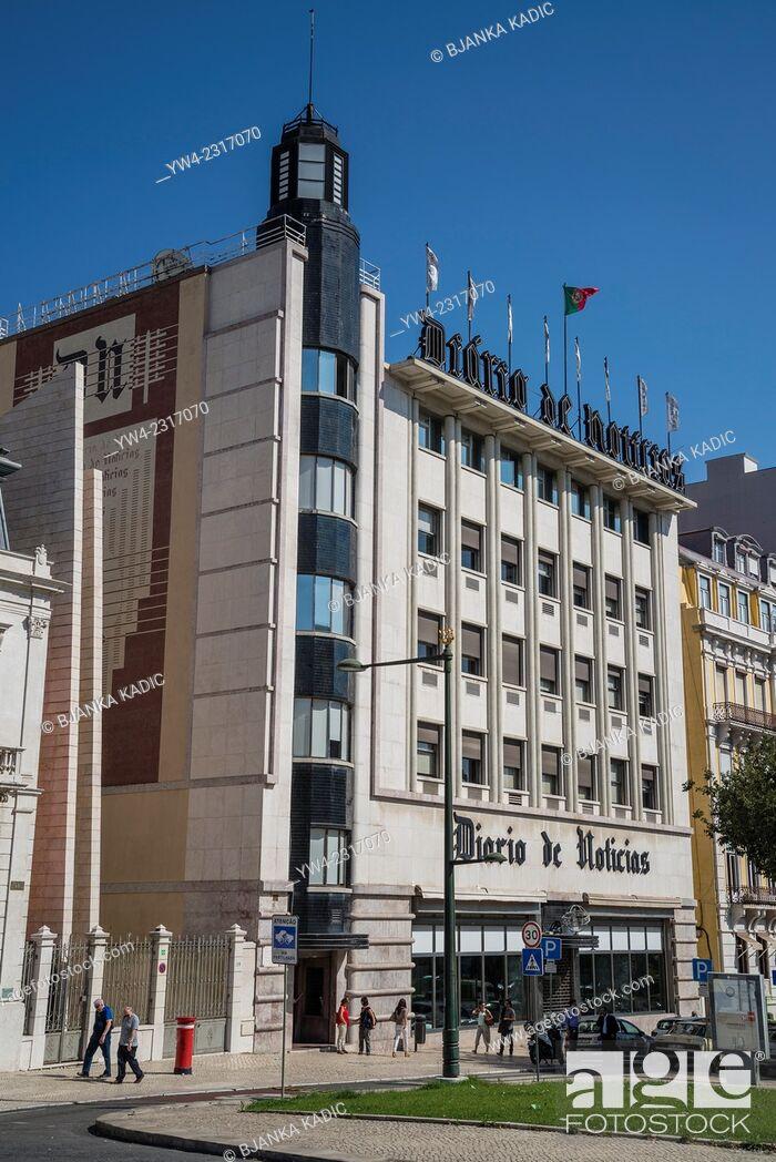 Stock Photo: Diario de Noticias building, Daily News building, Liberty Avenue, Lisbon, Portugal.