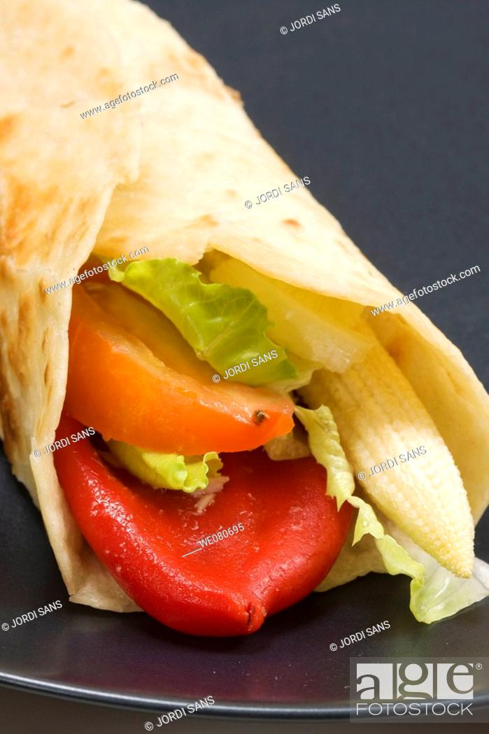 Stock Photo: Vegetable 'fajita', Tex-Mex cuisine.