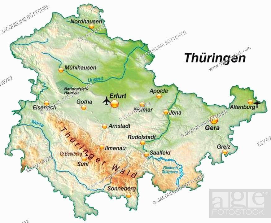 Karte Thüringen.Karte Von Thueringen Als übersichtskarte Als Schummerung Stock