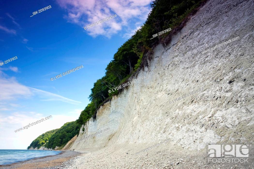 Stock Photo: Chalk Cliffs at the Baltic Sea, Jasmund National Park, Ruegen island, Mecklenburg-Western Pomerania, Germany, Europe.