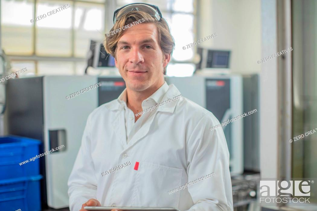 Stock Photo: Portrait of worker in thread factory.