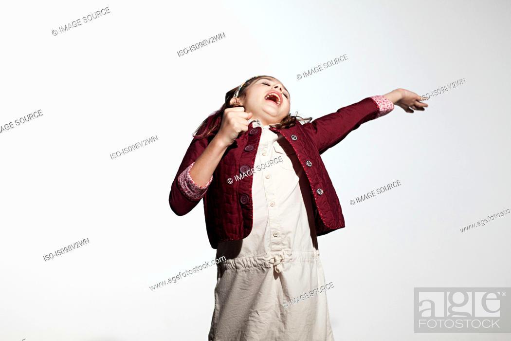 Stock Photo: Girl singing.