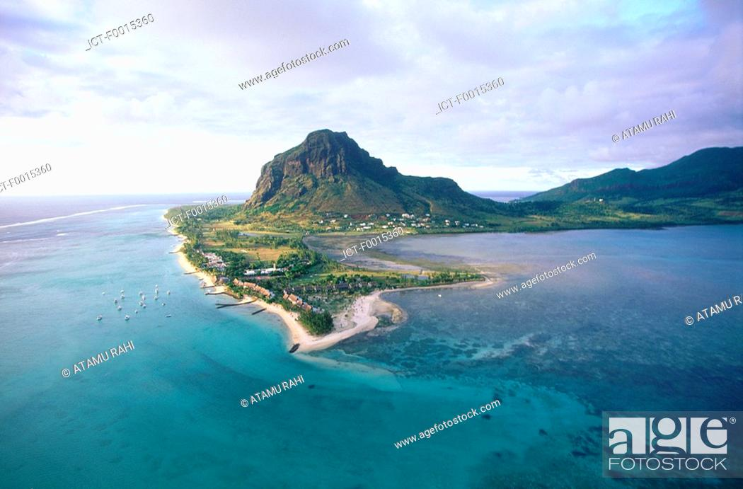 Stock Photo: Mauritius, Morne Brabant, aerial view.