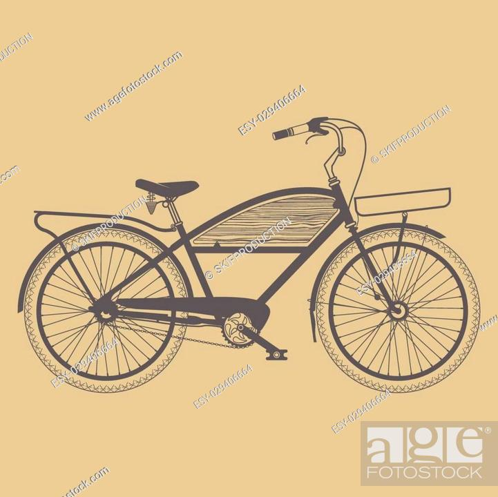 Stock Vector: Old classic bicycle vintage on the ground.
