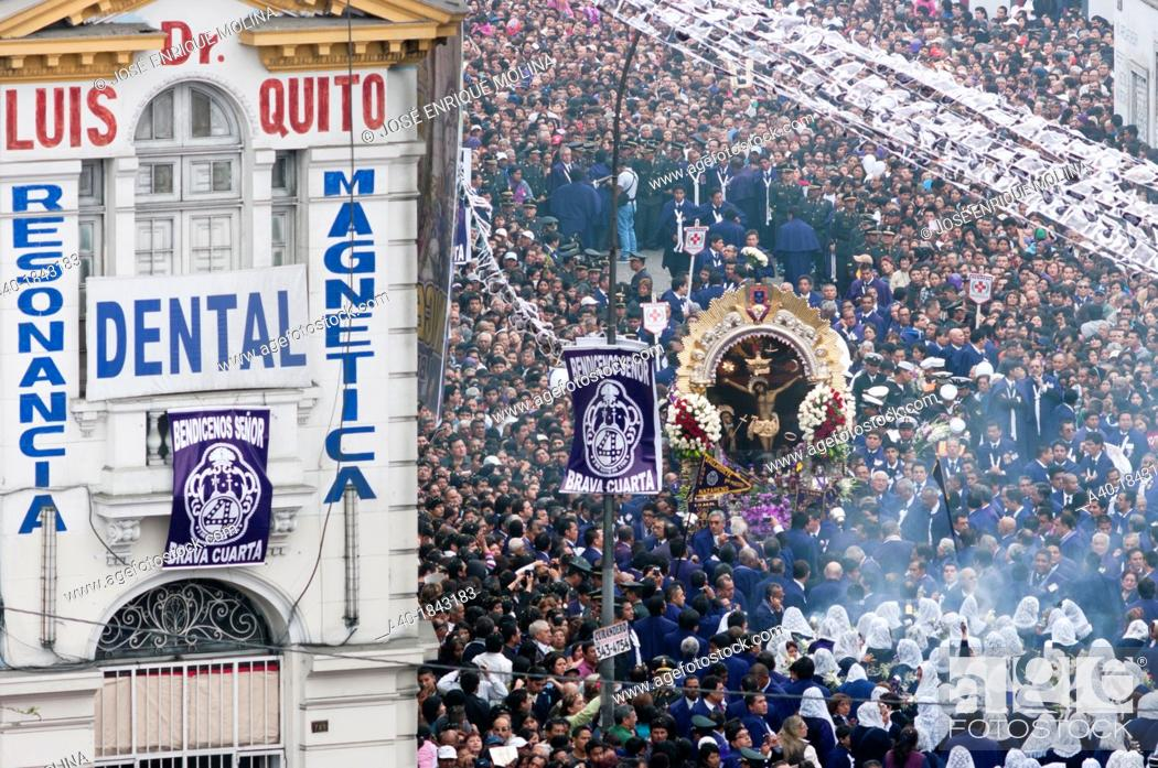 Stock Photo: Lord of Miracles Procession in Lima city  Peru.