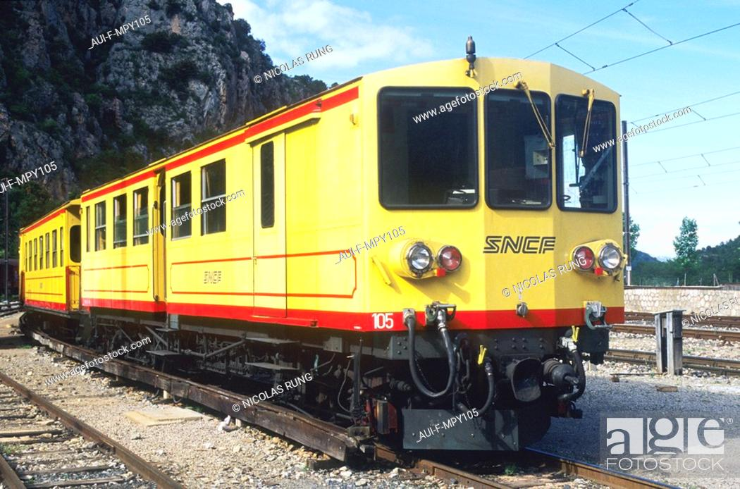 Stock Photo: France - Pyrenees Orientales - Le train jaune.