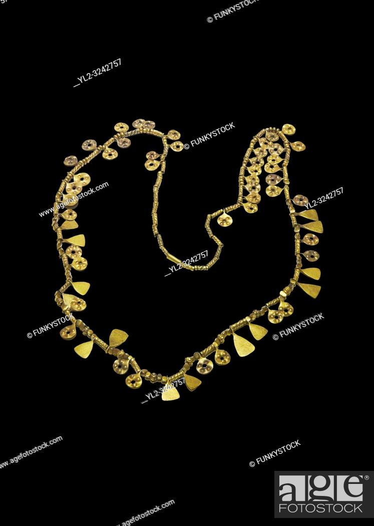 Stock Photo: Bronze Age Hattian gold necklace from Grave MA, possibly a Bronze Age Royal grave (2500 BC to 2250 BC) - Alacahoyuk - Museum of Anatolian Civilisations, Ankara.
